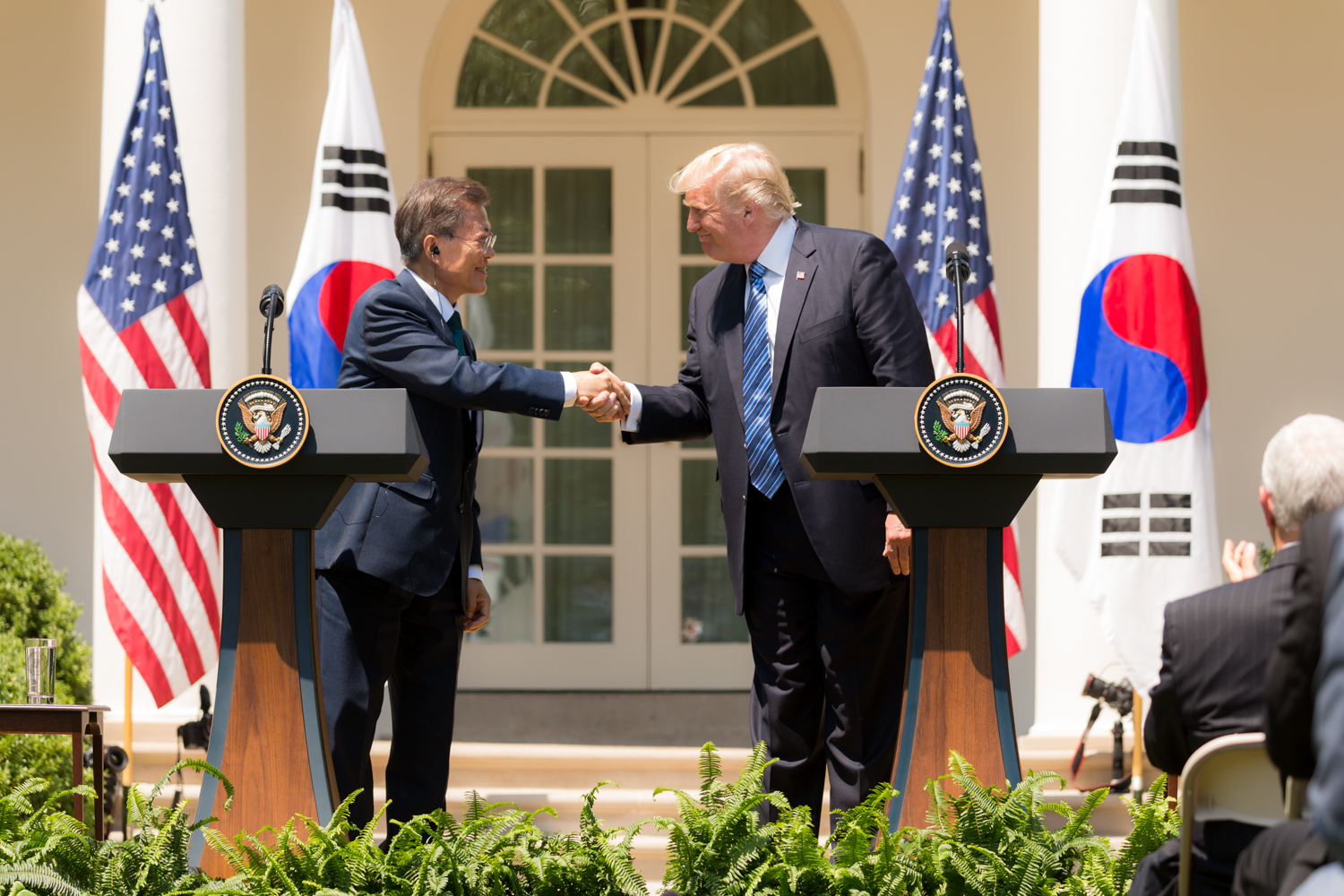 President Donald J. Trump welcomes President Moon Jae-in of the Republic of Korea to the White House